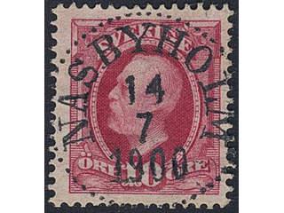 Sweden. Facit 54, M county. NÄSBYHOLM 14.7.1900. Prakt-/lyxstämpel.