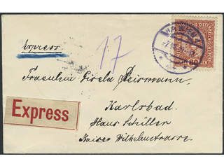 Austria. Michel 197 cover , 80 h on express cover sent from WIEN 2.VII.19 to KARLSBAD …