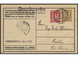 Germany Reich. Postal stationery 1925 Michel 345 , Printed matter sent by air mail. A …