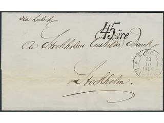 Sweden. Postage due mail. Postage due cancellation 45 ÖRE on cover sent from KSPA …