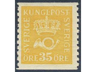Sweden. Facit 156cxz ★★ , 35 öre yellow type I with watermark lines + KPV. SEK7000
