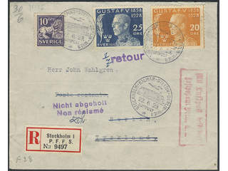 Sweden. Air mail cover Facit 145A, 229, 230 , 10+20+25 öre on registered air nail cover …