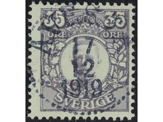 Sweden. Facit 89 used , 35 öre violet. EXCELLENT cancellation AVESTA 17.12.1919.