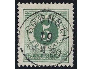 Sweden. Facit 43b used , 5 öre dark green, clean distinct print. EXCELLENT cancellation …