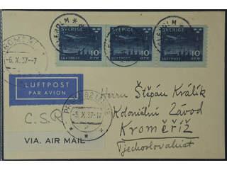 Sweden. Air mail cover Facit 231 , 3x10 öre on air mail card sent from HÄSSLEHOLM …