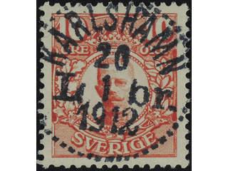 Sweden. Facit 82 used , 10 öre red. EXCELLENT cancellation KARLSHAMN LBR 20.1.1912.