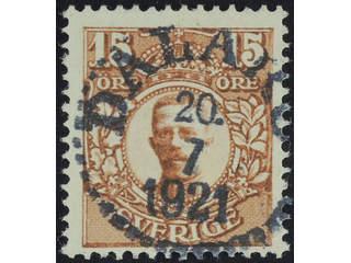 Sweden. Facit 84 used , 15 öre brown. EXCELLENT cancellation DALARÖ 20.7.1921. Slightly …